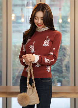 Swan Jacquard Knit Top, Styleonme