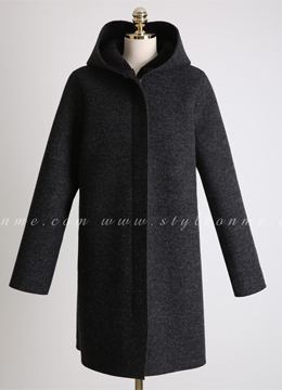 Loose Fit Fleece Hooded Coat, Styleonme