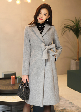 Side Ribbon Long Tailored Coat, Styleonme