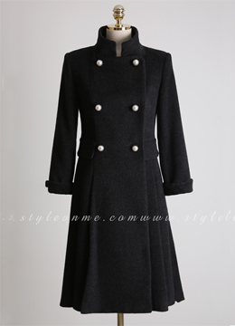 Double-Breasted Pearl Button Stand Collar Long Coat, Styleonme