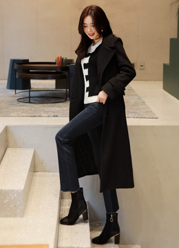 Wool Blend Belted Extra Long Tailored Coat, Styleonme