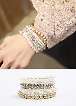 Pearl and Cubic Layered Bracelet, Styleonme