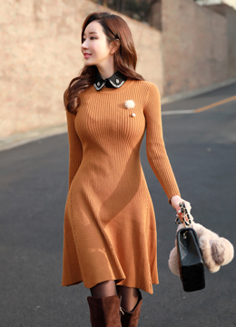 Flared Ribbed Knit Dress, Styleonme
