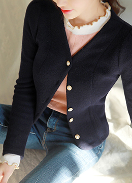 [Weekly Best]Pearl Button V-Neck Cardigan, Styleonme