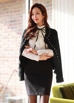 [Weekly Best]Black Ribbon Tie Ruffle Blouse, Styleonme