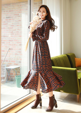 Floral Print Front Slit Long Dress, Styleonme