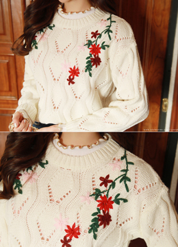 Flower Embroidered Knit Sweater, Styleonme