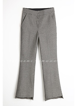 Step Hem Fleece-lined Boot-Cut Slacks, Styleonme