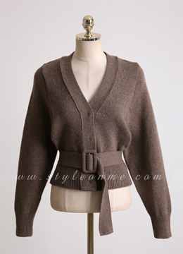 Wool Blend Belted V-Neck Cardigan, Styleonme