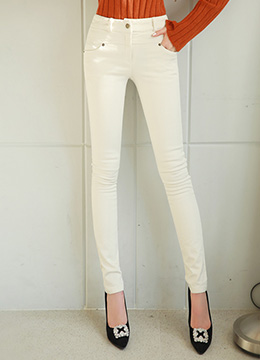 Slim Line Brushed-lined Skinny Pants, Styleonme