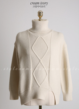 Front Slit Turtleneck Knit Sweater, Styleonme