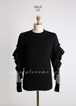 See-through Frill Sleeve Knit Tee, Styleonme