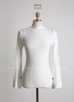 Mock Neck Bell Sleeve Knit Tee, Styleonme