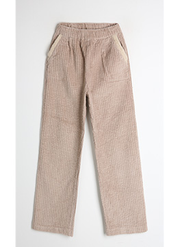 Pocket Fur Trim Corduroy Pants, Styleonme