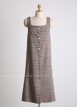 Check Print Pearl Button Sleeveless Dress, Styleonme