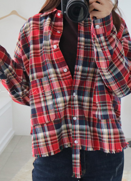 Vintage Style Check Print Button-Up Collared Shirt, Styleonme