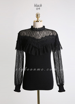 Frill See-through Knit Tee, Styleonme
