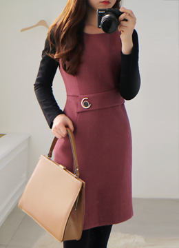 Two Color Belted Dress, Styleonme