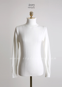Pearl Sleeve Detail Turtleneck Knit Top, Styleonme
