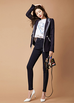 Edgy Trim Line Tailored Jacket, Styleonme