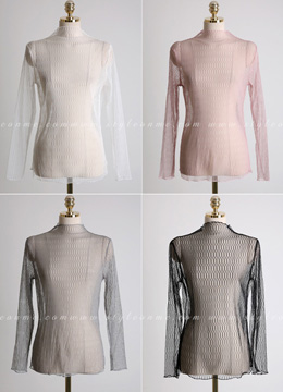 Feminine See-through Mock Neck Blouse, Styleonme