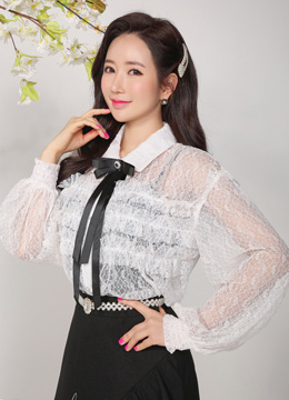Ribbon Brooch Set See-through Frill Blouse, Styleonme