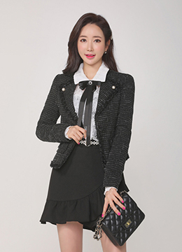 Frayed Trim Pearl Accent Tweed Jacket, Styleonme