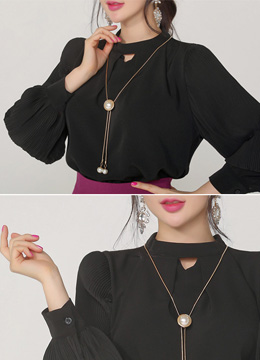 Necklace Set Pleated Sleeve Detail Blouse, Styleonme