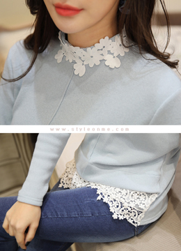 Floral Lace Trim Long T-shirt, Styleonme