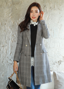 Classic Check Print Double-Breasted Long Coat, Styleonme