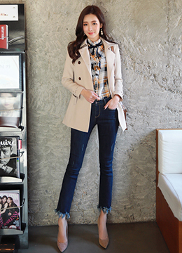 Short Double-Breasted Trench Coat, Styleonme