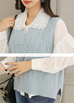 Pastel Color Oversized Knit Vest, Styleonme
