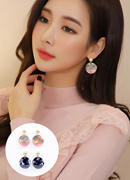 Round Marble Drop Earrings, Styleonme