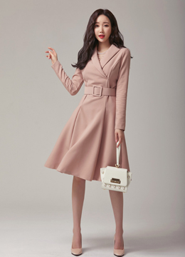 Modern Collared Belt Set Flared Dress, Styleonme