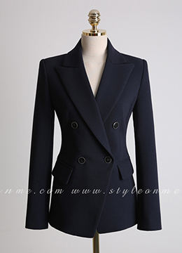 Double-Breasted Wooden Button Tailored Jacket, Styleonme