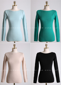 [Weekly Best]Pearl Accent Soft Boat Neck Knit Tee, Styleonme