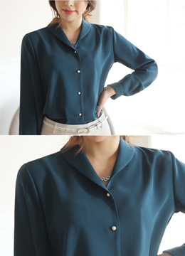 Pearl Button Collared Blouse, Styleonme