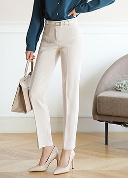 Gold Button Straight Leg Slacks, Styleonme