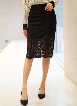 Floral Lace Midi H-Line Skirt, Styleonme