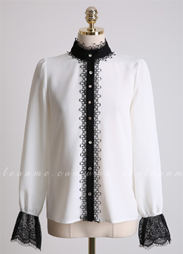 Cubic Button Lace Trim Blouse, Styleonme