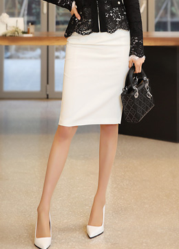Basic Slim Fit High-Waisted Pencil Skirt, Styleonme