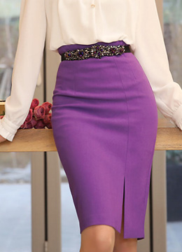 Front Slit High-Waisted Pencil Skirt, Styleonme