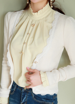 Pearl Button Lace Trim V-Neck Cardigan, Styleonme