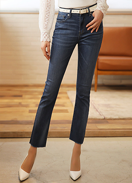Raw Hem Semi-Boot Cut Jeans, Styleonme