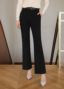 Two Button High-Waisted Boot-Cut Slacks, Styleonme