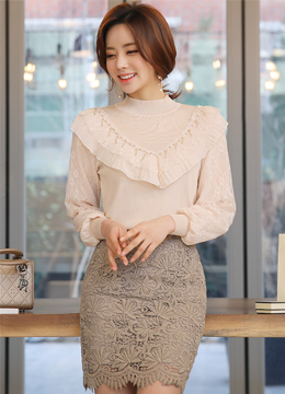 Pearl Detail Ruffle Lace Knit Top, Styleonme