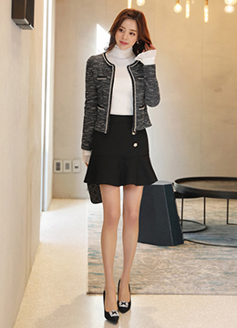 Chain and Pearl Trim Tweed Jacket, Styleonme