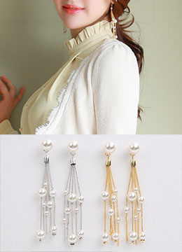Multi Pearl Strand Drop Earrings, Styleonme