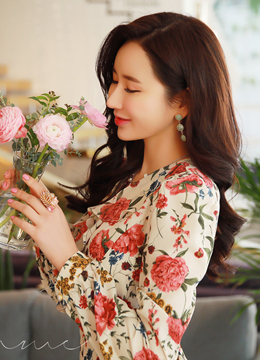 Spring Floral Print Flared Dress, Styleonme