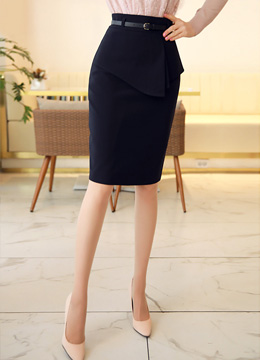 Front Flap Detail Belted Pencil Skirt, Styleonme